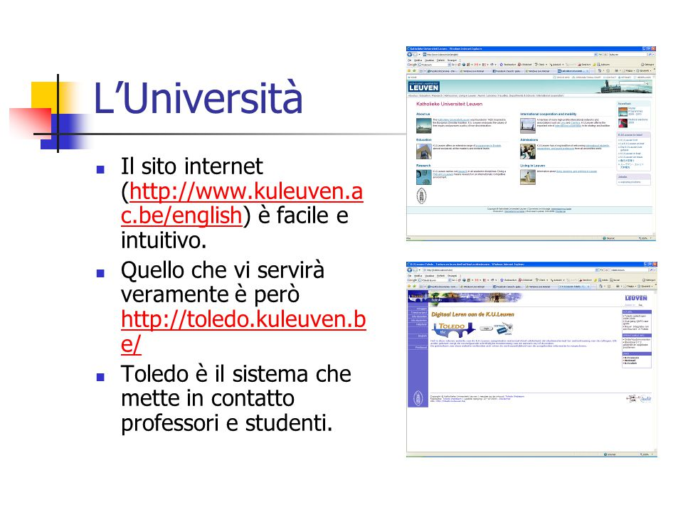 L'Università Il sito internet (http://www.kuleuven.ac.be/english) è facile e intuitivo.