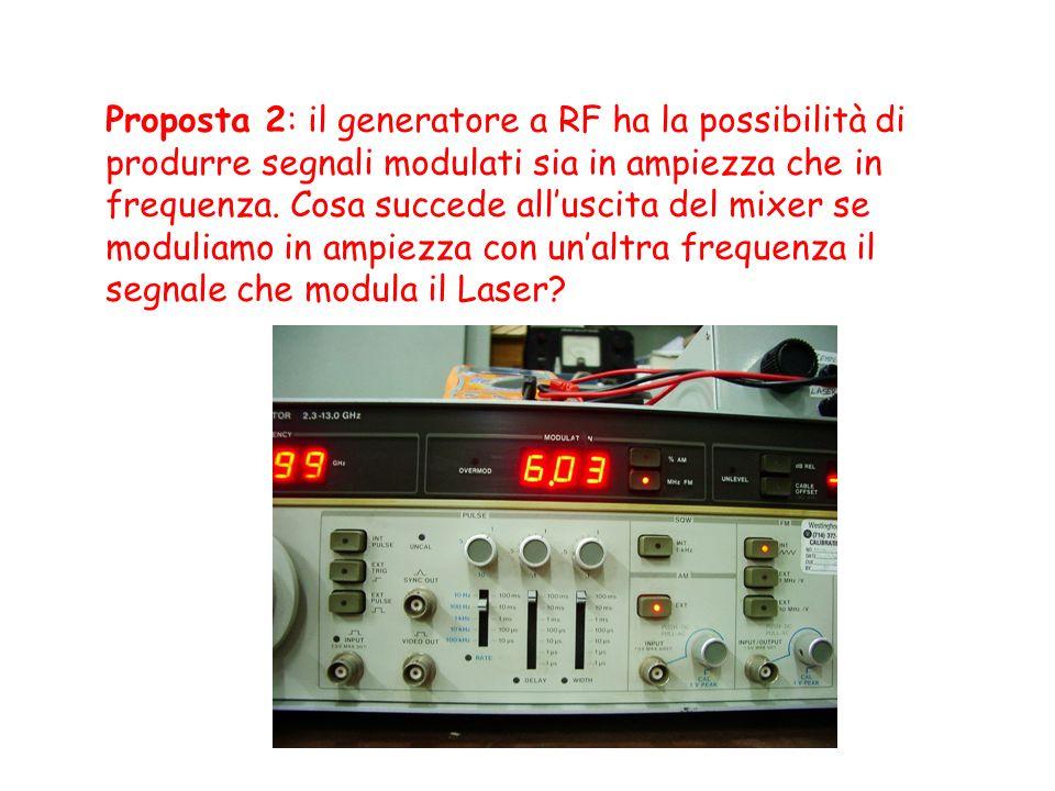 Proposta 2: il generatore a RF ha la possibilità di produrre segnali modulati sia in ampiezza che in frequenza.