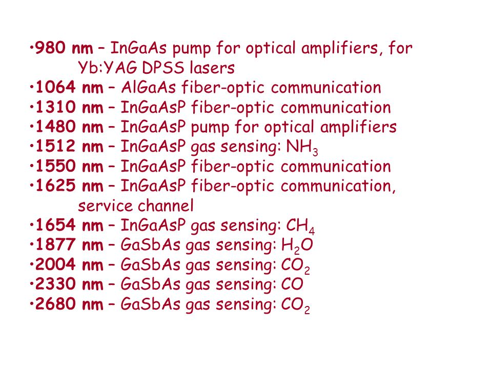 980 nm – InGaAs pump for optical amplifiers, for Yb:YAG DPSS lasers