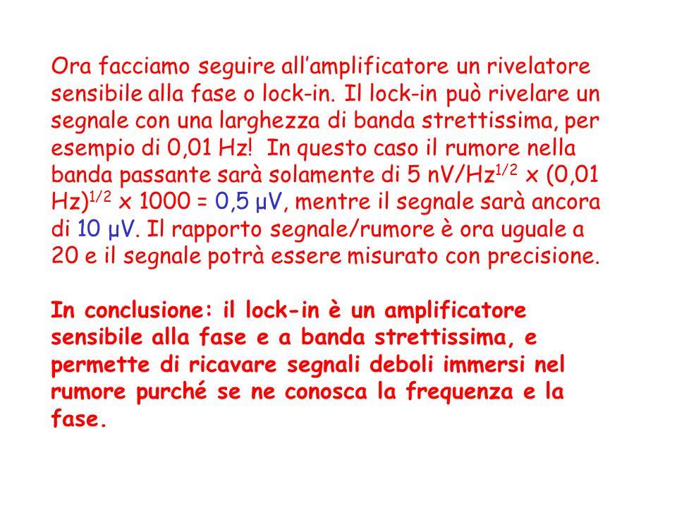 Ora facciamo seguire all'amplificatore un rivelatore sensibile alla fase o lock-in. Il lock-in può rivelare un segnale con una larghezza di banda strettissima, per esempio di 0,01 Hz! In questo caso il rumore nella banda passante sarà solamente di 5 nV/Hz1/2 x (0,01 Hz)1/2 x 1000 = 0,5 μV, mentre il segnale sarà ancora di 10 μV. Il rapporto segnale/rumore è ora uguale a 20 e il segnale potrà essere misurato con precisione.