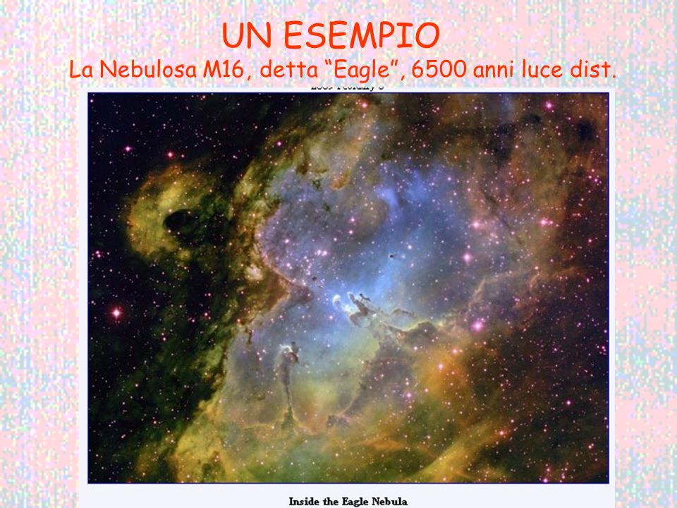 UN ESEMPIO La Nebulosa M16, detta Eagle , 6500 anni luce dist.