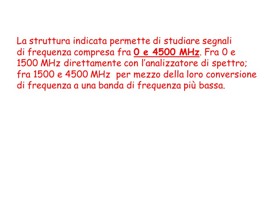 La struttura indicata permette di studiare segnali