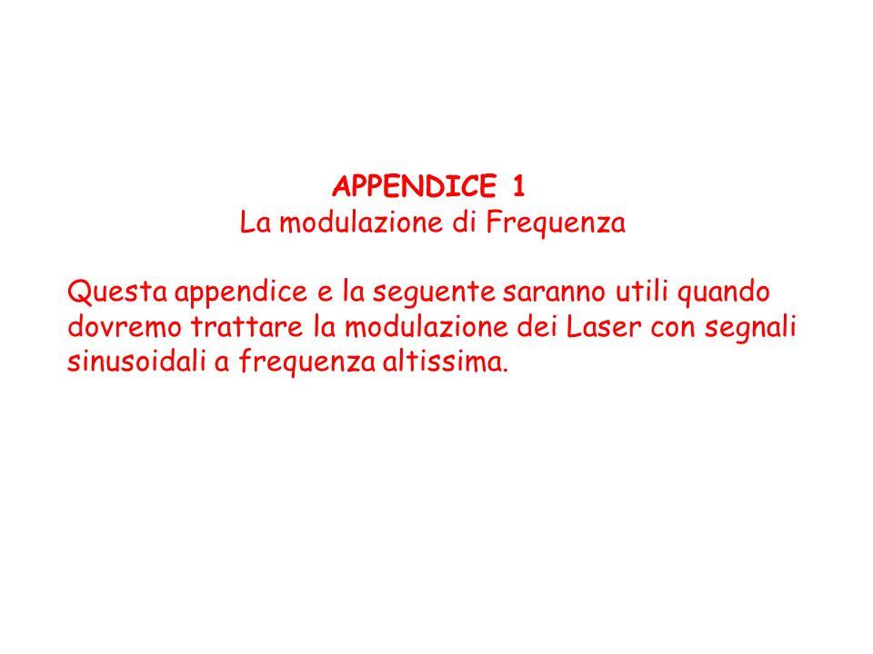 APPENDICE 1 La modulazione di Frequenza. Questa appendice e la seguente saranno utili quando dovremo trattare la modulazione dei Laser con segnali.