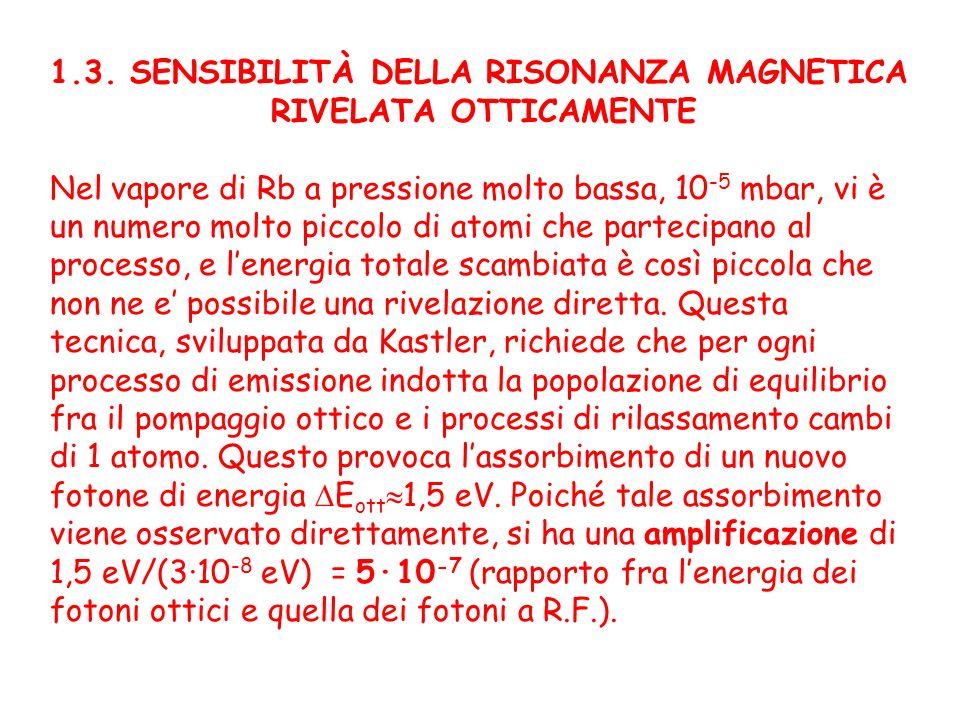 1.3. SENSIBILITÀ DELLA RISONANZA MAGNETICA