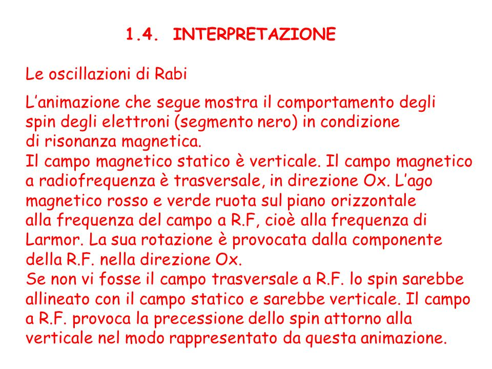1.4. INTERPRETAZIONE Le oscillazioni di Rabi. L'animazione che segue mostra il comportamento degli.