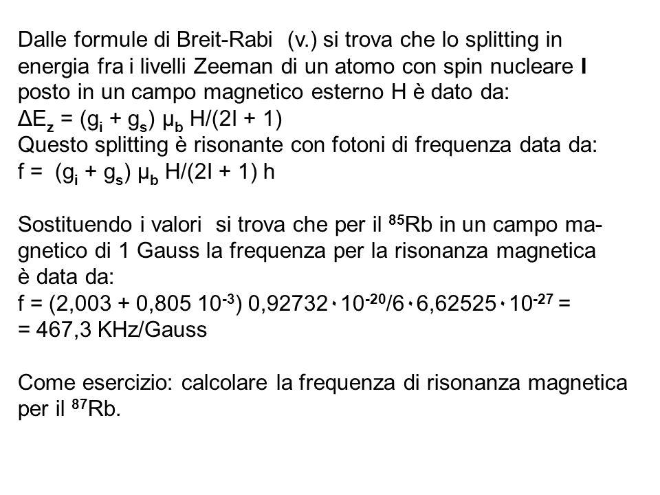 Dalle formule di Breit-Rabi (v.) si trova che lo splitting in