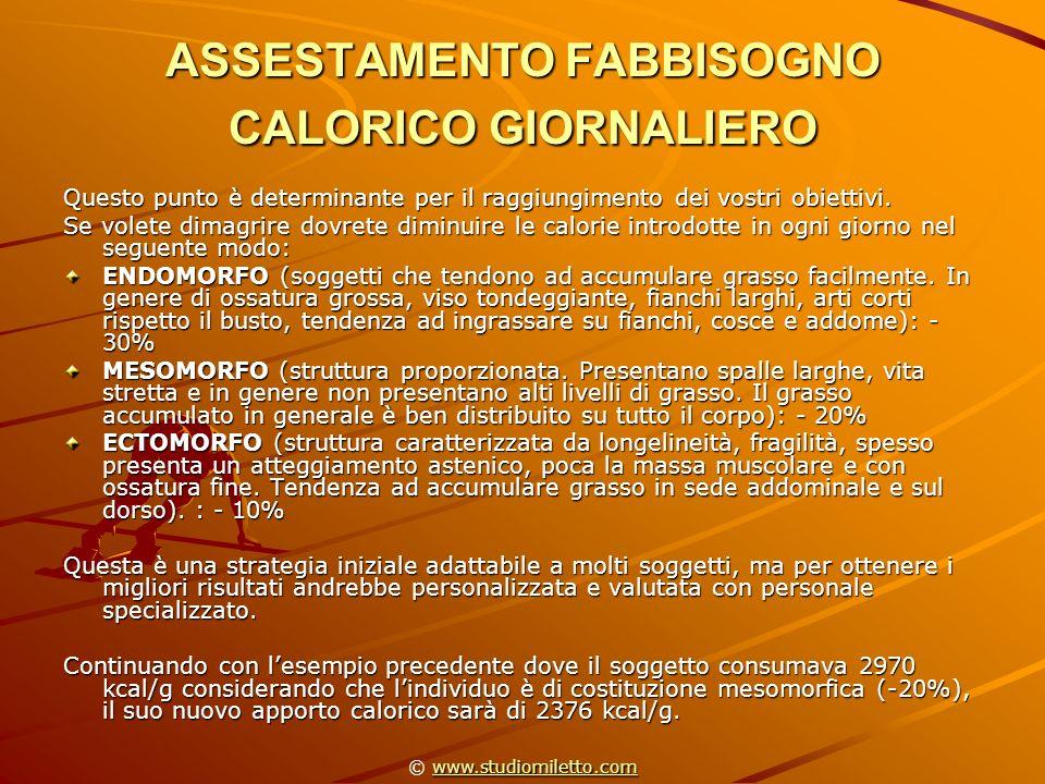 ASSESTAMENTO FABBISOGNO CALORICO GIORNALIERO
