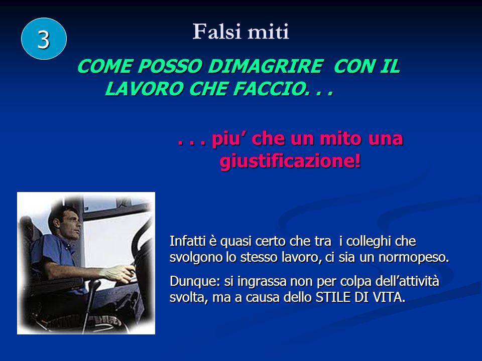 Falsi miti 3 COME POSSO DIMAGRIRE CON IL LAVORO CHE FACCIO. . .