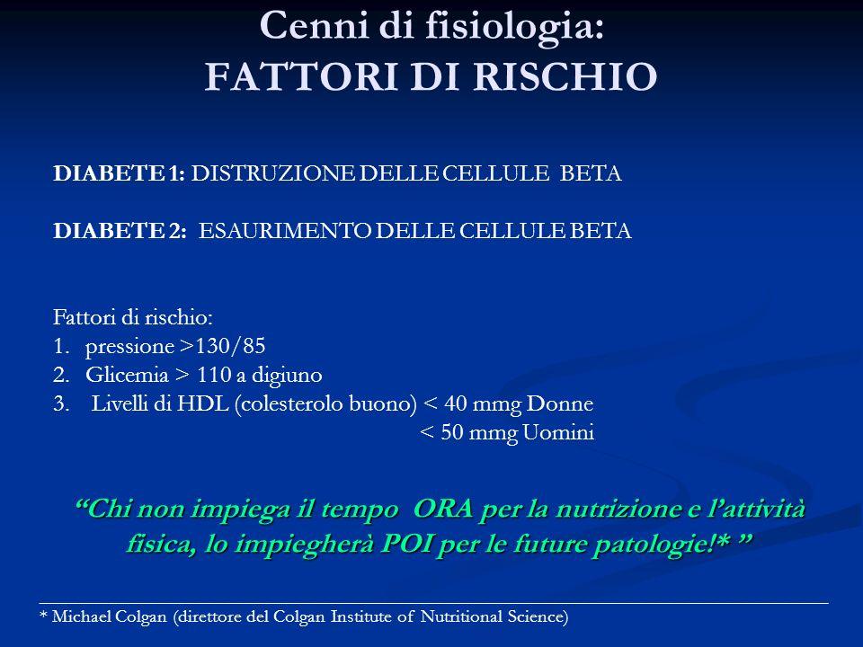 Cenni di fisiologia: FATTORI DI RISCHIO
