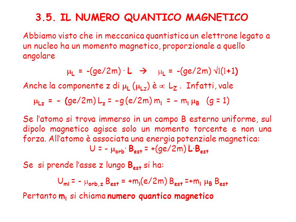 3.5. IL NUMERO QUANTICO MAGNETICO