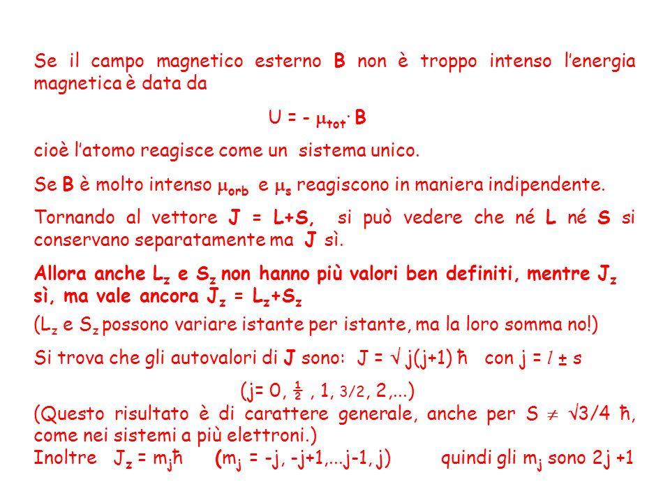 Se il campo magnetico esterno B non è troppo intenso l'energia magnetica è data da