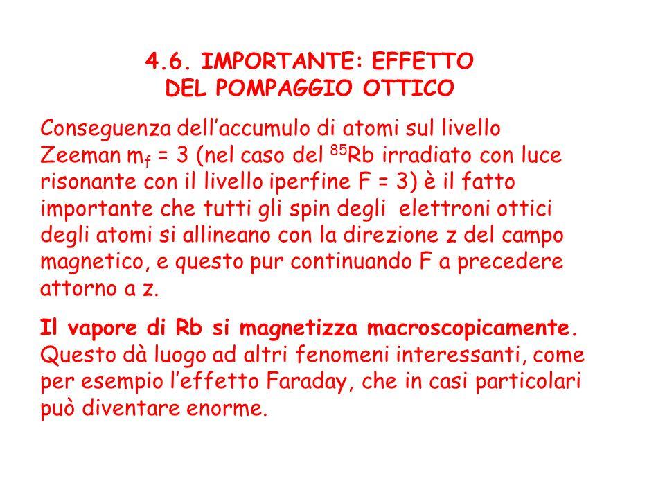4.6. IMPORTANTE: EFFETTO DEL POMPAGGIO OTTICO. Conseguenza dell'accumulo di atomi sul livello. Zeeman mf = 3 (nel caso del 85Rb irradiato con luce.