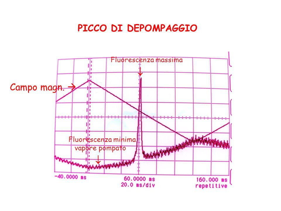   PICCO DI DEPOMPAGGIO Campo magn.  Fluorescenza massima
