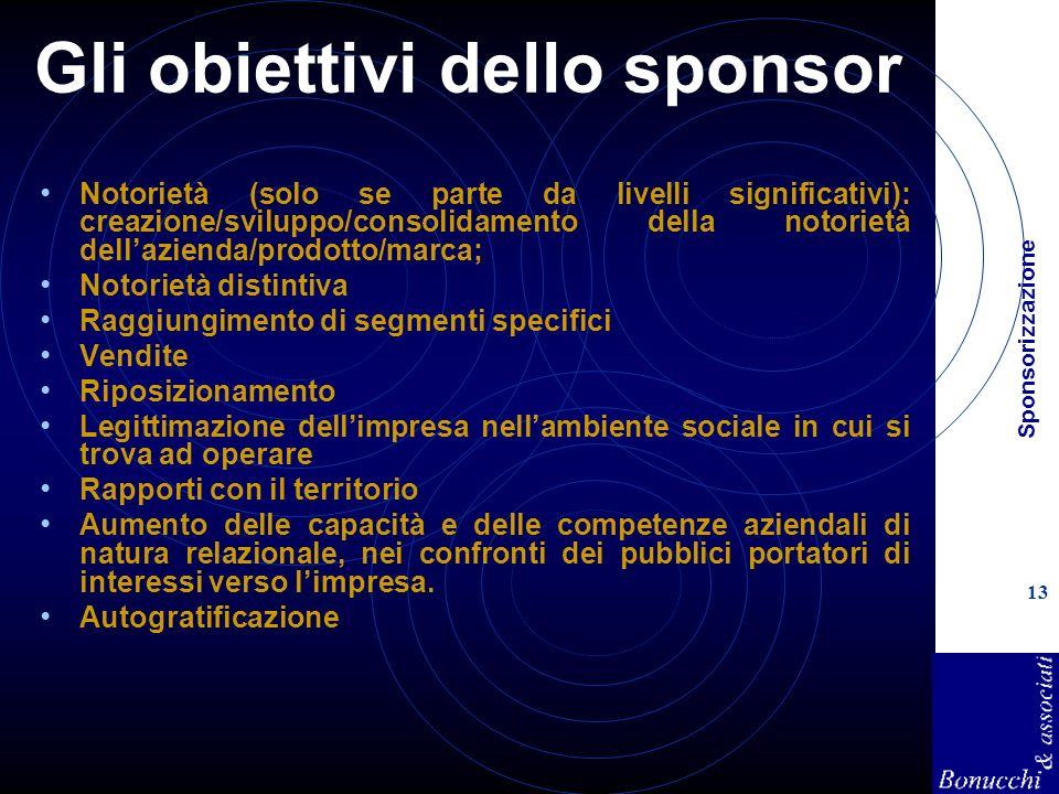 Gli obiettivi dello sponsor