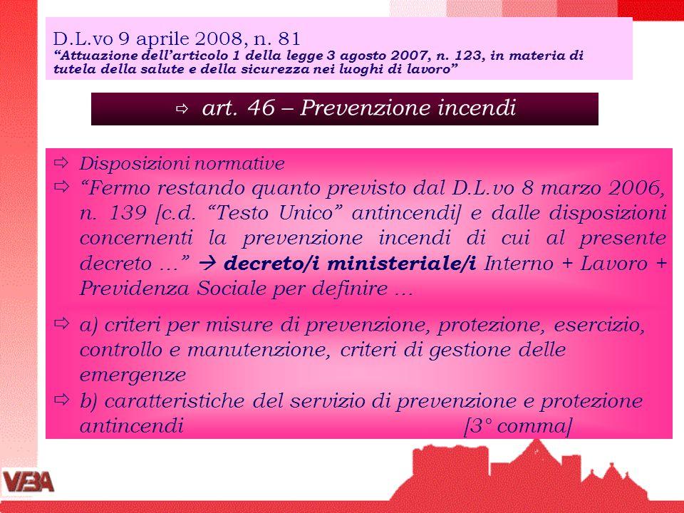 art. 46 – Prevenzione incendi