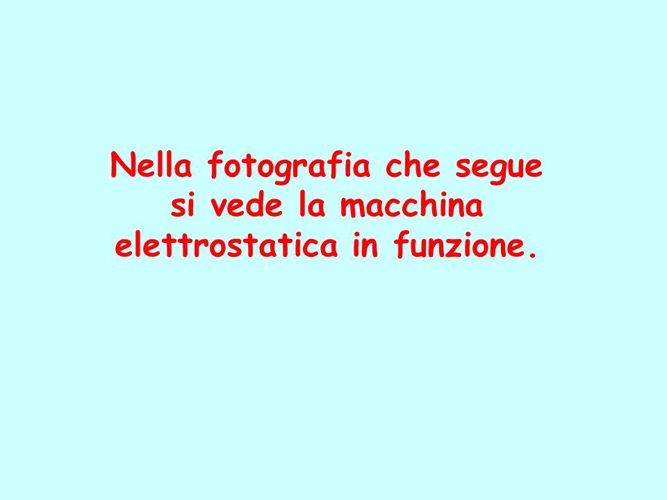 Nella fotografia che segue elettrostatica in funzione.
