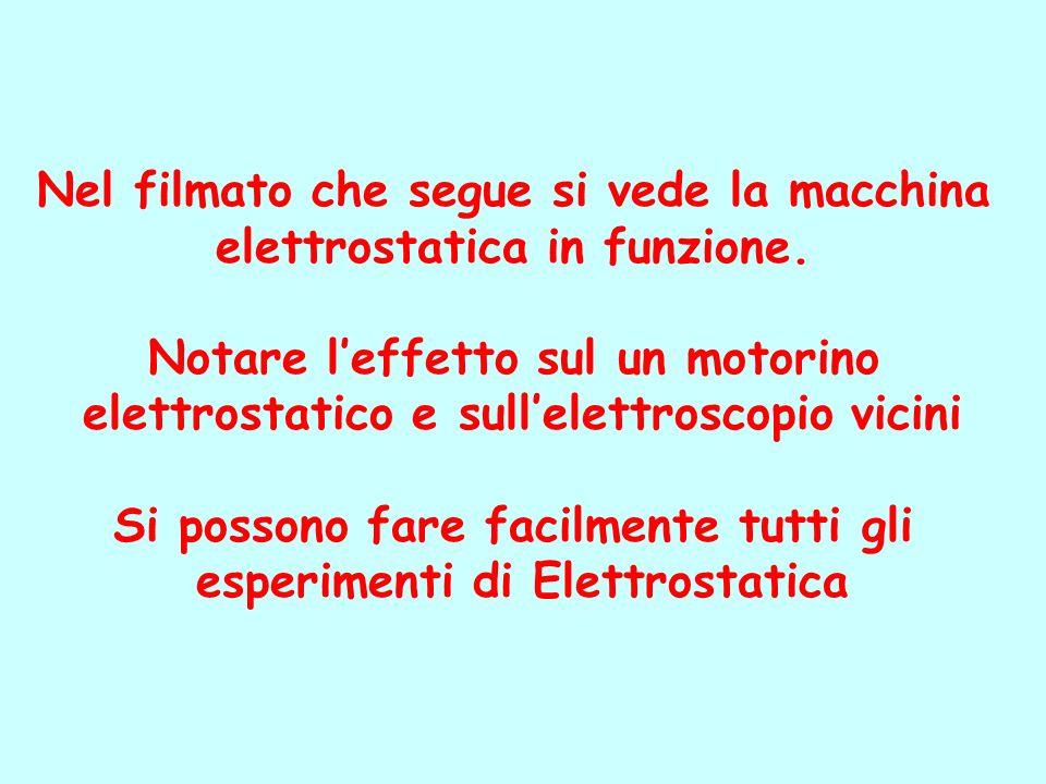 Nel filmato che segue si vede la macchina elettrostatica in funzione.