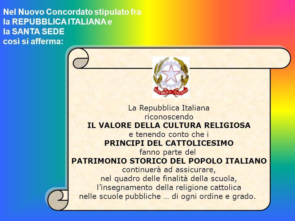 Nel Nuovo Concordato stipulato fra la REPUBBLICA ITALIANA e