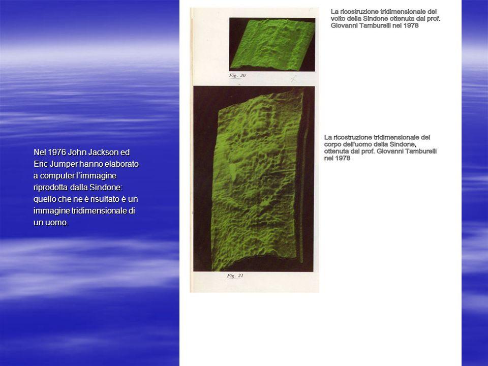 Nel 1976 John Jackson ed Eric Jumper hanno elaborato. a computer l'immagine. riprodotta dalla Sindone:
