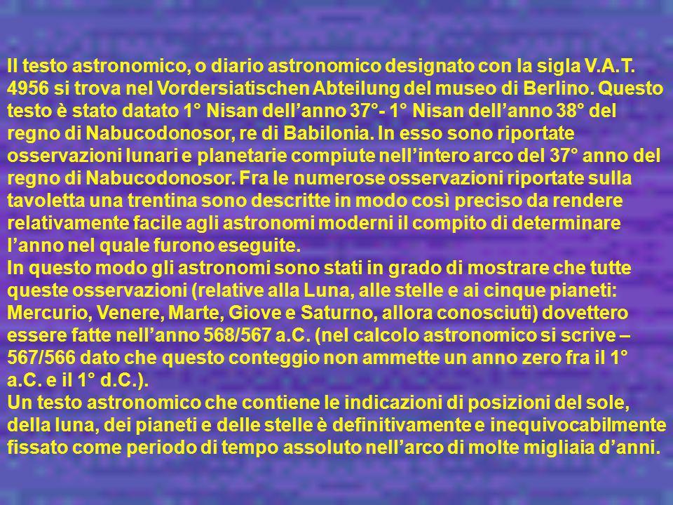 Il testo astronomico, o diario astronomico designato con la sigla V. A