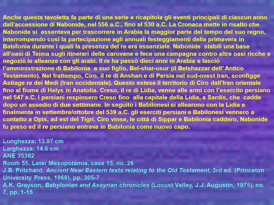 Anche questa tavoletta fa parte di una serie e ricapitola gli eventi principali di ciascun anno dall accessione di Nabonide, nel 556 a.C., fino al 530 a.C. La Cronaca mette in risalto che Nabonide si assentava per trascorrere in Arabia la maggior parte del tempo del suo regno, interrompendo così la partecipazione agli annuali festeggiamenti della primavera in Babilonia durante i quali la presenza del re era essenziale. Nabonide stabilì una base all oasi di Teima sugli itinerari delle carovane e fece una campagna contro altre oasi ricche e negoziò le alleanze con gli arabi. Il re ha passò dieci anni in Arabia e lasciò l'amministrazione di Babilonia a suo figlio, Bel-shar-usur (il Belshazzar dell' Antico Testamento). Nel frattempo, Ciro, il re di Anshan e di Persia nel sud-ovest Iran, sconfigge Astiage re dei Medi (Iran occidentale). Questo estese il territorio di Ciro dall Iran orientale fino al fiume di Halys in Anatolia. Creso, il re di Lidia, venne alle armi con l'esercito persiano nel 547 a.C. I persiani respinsero Creso fino alla capitale della Lidia, a Sardis, che cadde dopo un assedio di due settimane. In seguito i Babilonesi si allearono con la Lidia e finalmente in settembre/ottobre del 539 a.C. gli eserciti persiani e Babilonesi vennero a contatto a Opis, ad est del Tigri. Ciro vinse, le città di Sippar e Babilonia caddero, Nabonide fu preso ed il re persiano entrava in Babilonia come nuovo capo.