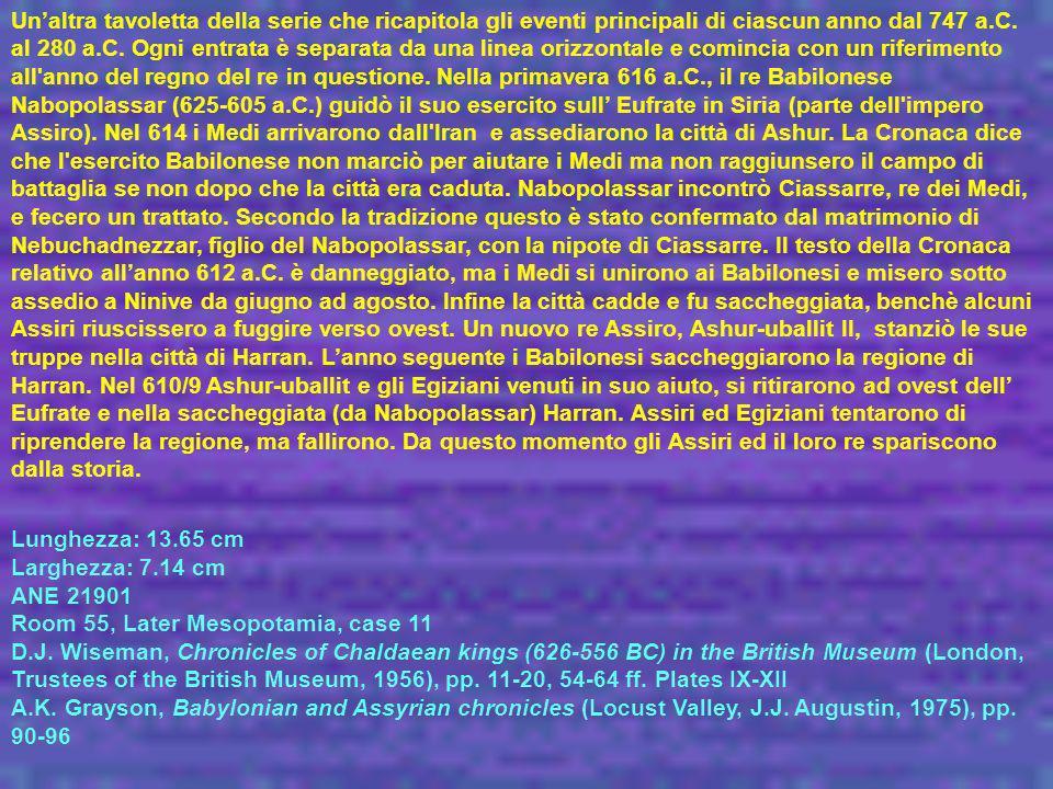 Un'altra tavoletta della serie che ricapitola gli eventi principali di ciascun anno dal 747 a.C. al 280 a.C. Ogni entrata è separata da una linea orizzontale e comincia con un riferimento all anno del regno del re in questione. Nella primavera 616 a.C., il re Babilonese Nabopolassar (625-605 a.C.) guidò il suo esercito sull' Eufrate in Siria (parte dell impero Assiro). Nel 614 i Medi arrivarono dall Iran e assediarono la città di Ashur. La Cronaca dice che l esercito Babilonese non marciò per aiutare i Medi ma non raggiunsero il campo di battaglia se non dopo che la città era caduta. Nabopolassar incontrò Ciassarre, re dei Medi, e fecero un trattato. Secondo la tradizione questo è stato confermato dal matrimonio di Nebuchadnezzar, figlio del Nabopolassar, con la nipote di Ciassarre. Il testo della Cronaca relativo all'anno 612 a.C. è danneggiato, ma i Medi si unirono ai Babilonesi e misero sotto assedio a Ninive da giugno ad agosto. Infine la città cadde e fu saccheggiata, benchè alcuni Assiri riuscissero a fuggire verso ovest. Un nuovo re Assiro, Ashur-uballit II, stanziò le sue truppe nella città di Harran. L'anno seguente i Babilonesi saccheggiarono la regione di Harran. Nel 610/9 Ashur-uballit e gli Egiziani venuti in suo aiuto, si ritirarono ad ovest dell' Eufrate e nella saccheggiata (da Nabopolassar) Harran. Assiri ed Egiziani tentarono di riprendere la regione, ma fallirono. Da questo momento gli Assiri ed il loro re spariscono dalla storia.