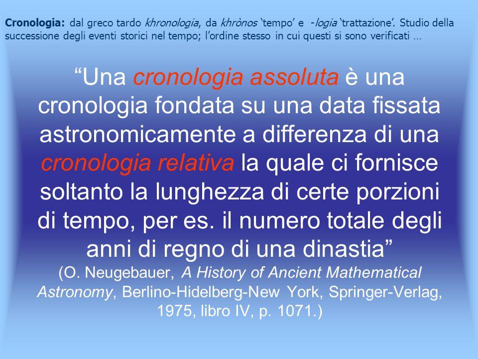 Cronologia: dal greco tardo khronologia, da khrònos 'tempo' e -logia 'trattazione'. Studio della successione degli eventi storici nel tempo; l'ordine stesso in cui questi si sono verificati …