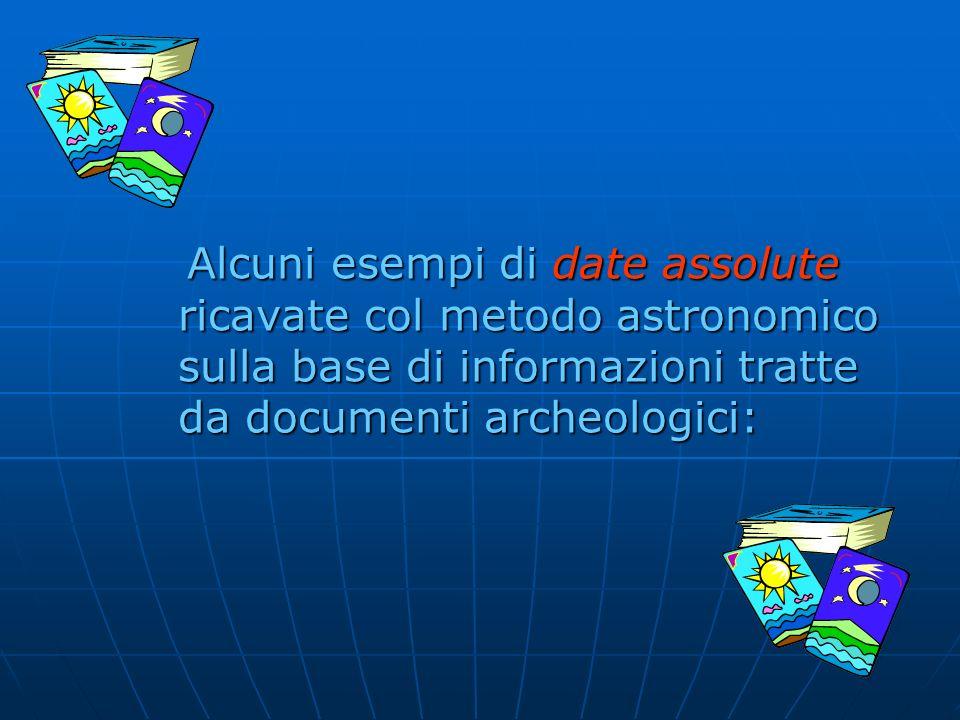 Alcuni esempi di date assolute ricavate col metodo astronomico sulla base di informazioni tratte da documenti archeologici:
