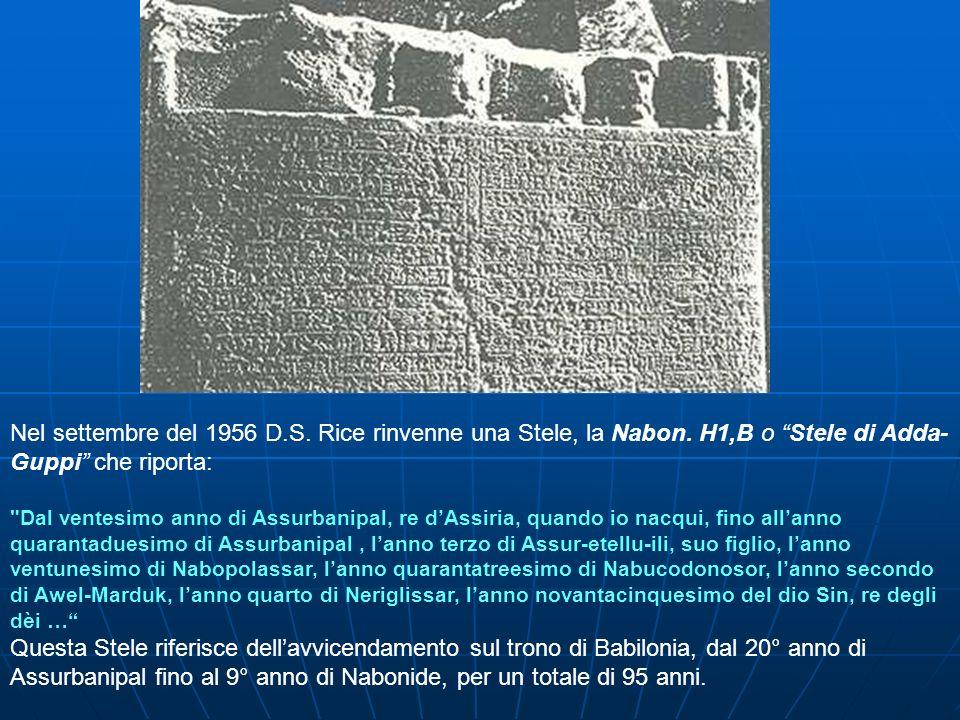 Nel settembre del 1956 D. S. Rice rinvenne una Stele, la Nabon