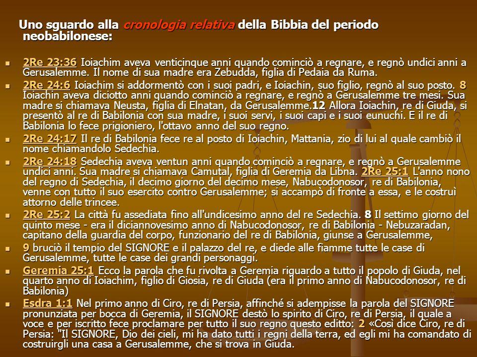 Uno sguardo alla cronologia relativa della Bibbia del periodo neobabilonese: