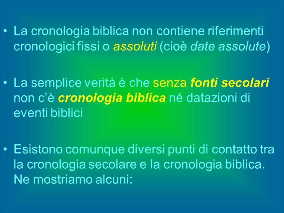 La cronologia biblica non contiene riferimenti cronologici fissi o assoluti (cioè date assolute)