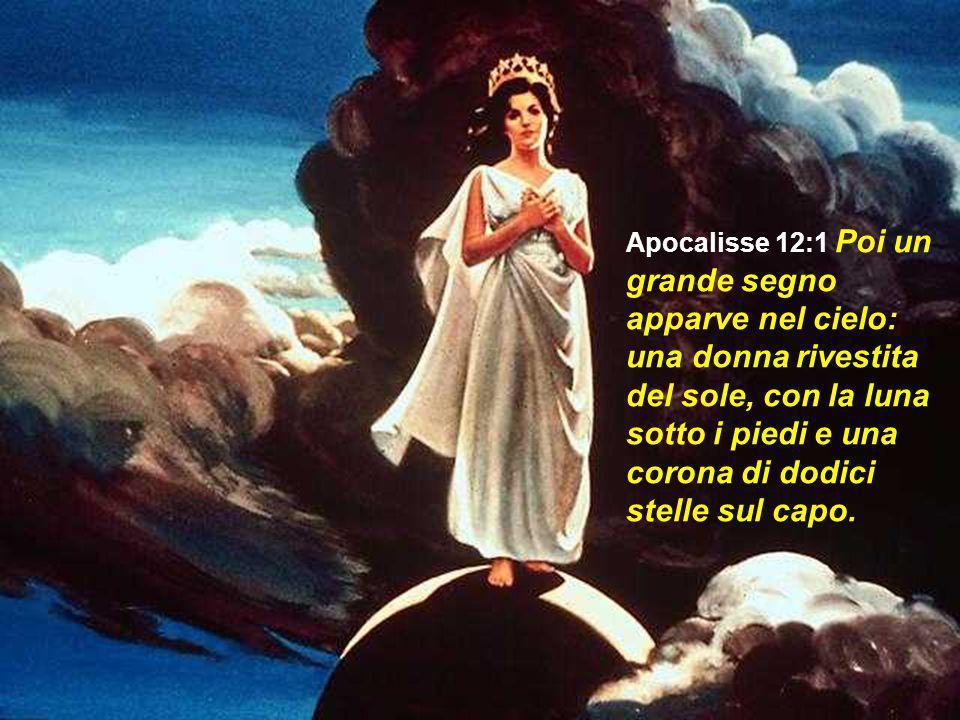 Apocalisse 12:1 Poi un grande segno apparve nel cielo: una donna rivestita del sole, con la luna sotto i piedi e una corona di dodici stelle sul capo.
