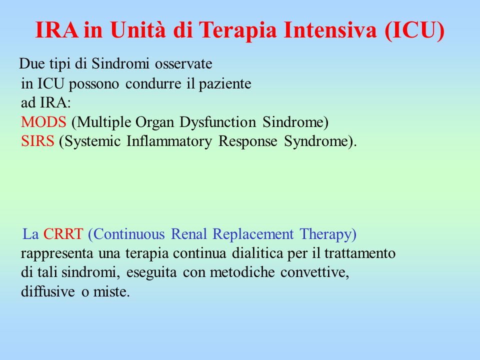 IRA in Unità di Terapia Intensiva (ICU)