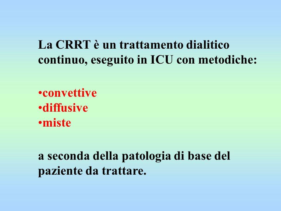 La CRRT è un trattamento dialitico continuo, eseguito in ICU con metodiche: