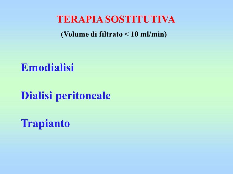 Emodialisi Dialisi peritoneale Trapianto TERAPIA SOSTITUTIVA