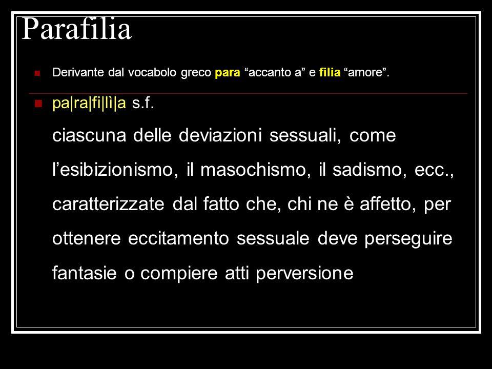 Parafilia Derivante dal vocabolo greco para accanto a e filia amore .