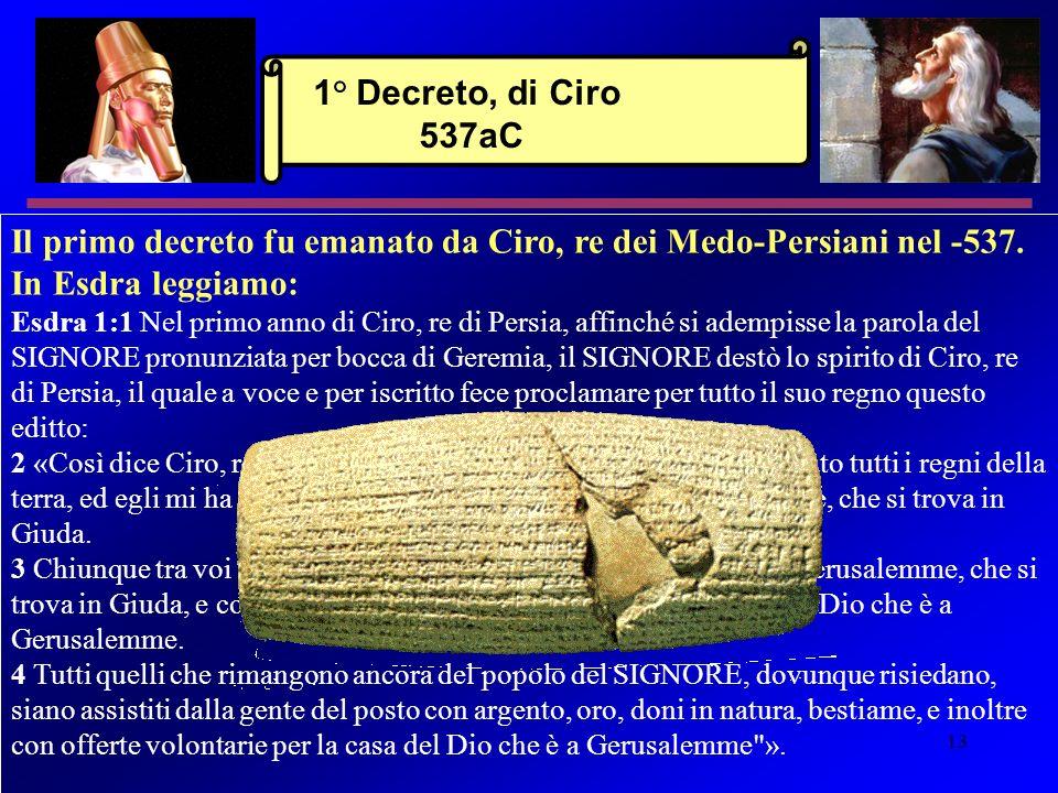 1° Decreto, di Ciro 537aC Il primo decreto fu emanato da Ciro, re dei Medo-Persiani nel -537. In Esdra leggiamo: