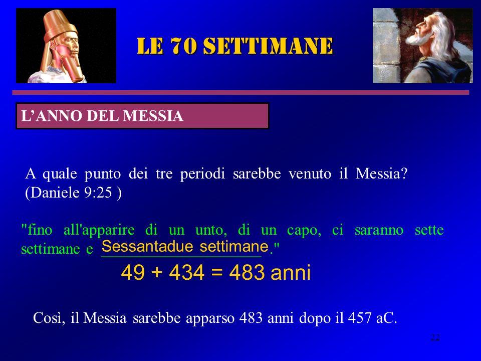 le 70 settimane 49 + 434 = 483 anni L'ANNO DEL MESSIA