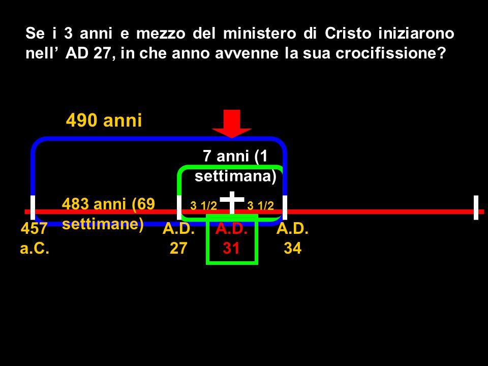 Se i 3 anni e mezzo del ministero di Cristo iniziarono nell' AD 27, in che anno avvenne la sua crocifissione