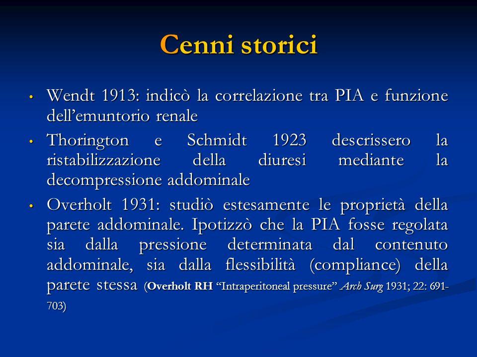 Cenni storici Wendt 1913: indicò la correlazione tra PIA e funzione dell'emuntorio renale.