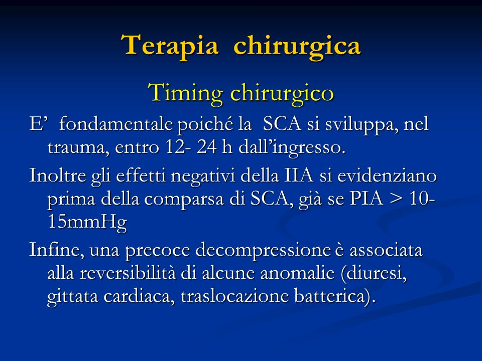 Terapia chirurgica Timing chirurgico