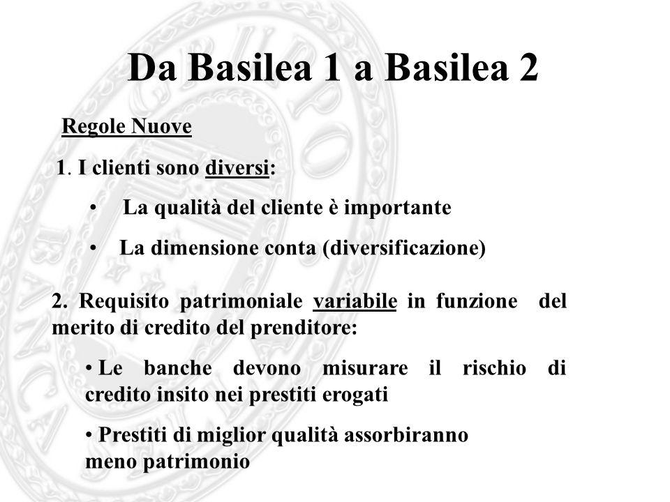 Da Basilea 1 a Basilea 2 Regole Nuove 1. I clienti sono diversi: