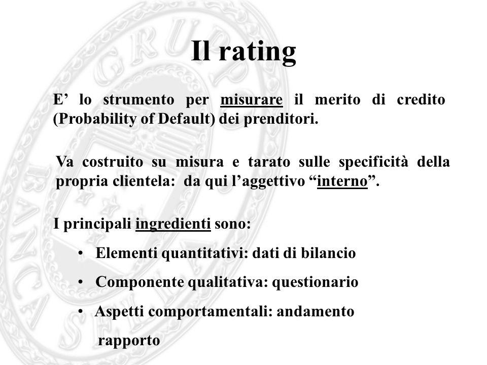 Il ratingE' lo strumento per misurare il merito di credito (Probability of Default) dei prenditori.