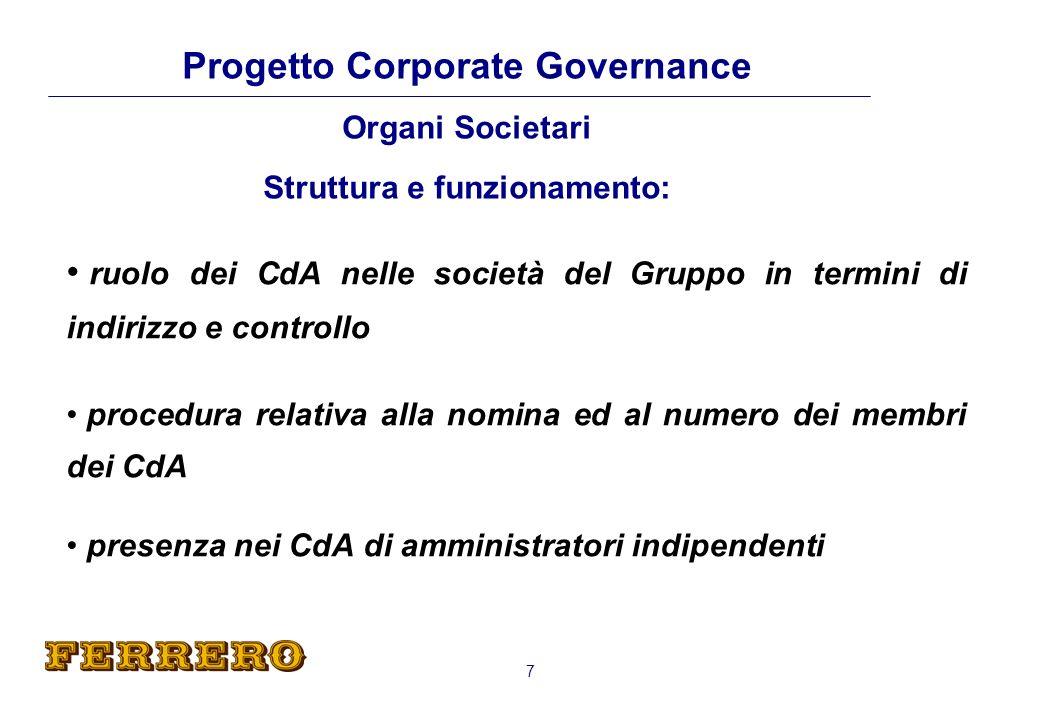 Progetto Corporate Governance Organi Societari Struttura e funzionamento: