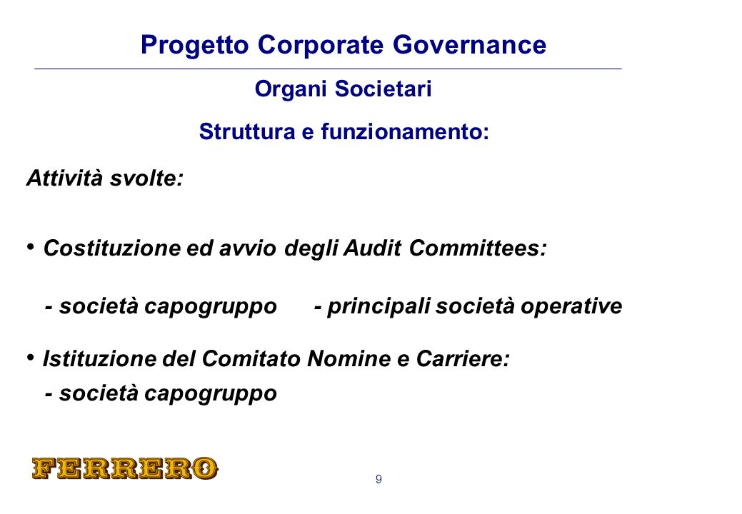 Costituzione ed avvio degli Audit Committees: