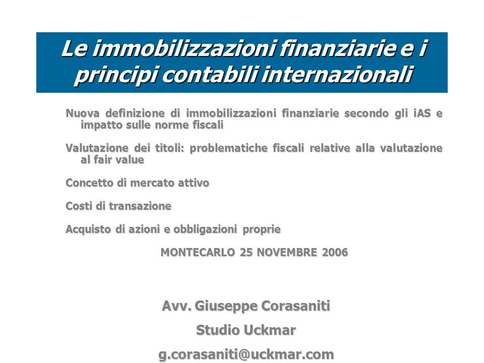 Le immobilizzazioni finanziarie e i principi contabili internazionali
