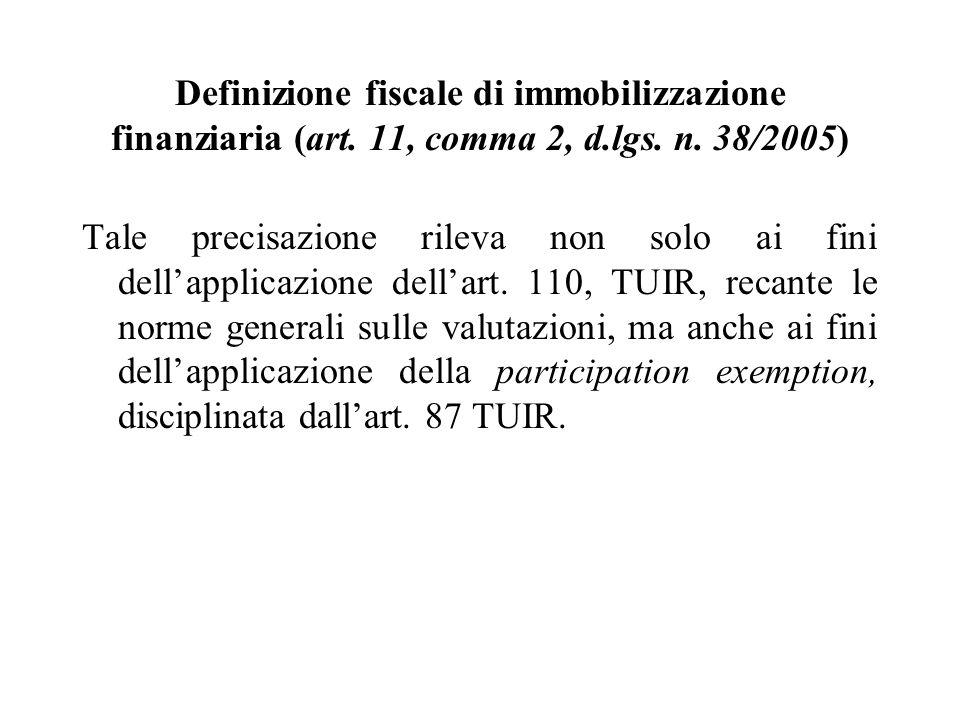 Definizione fiscale di immobilizzazione finanziaria (art