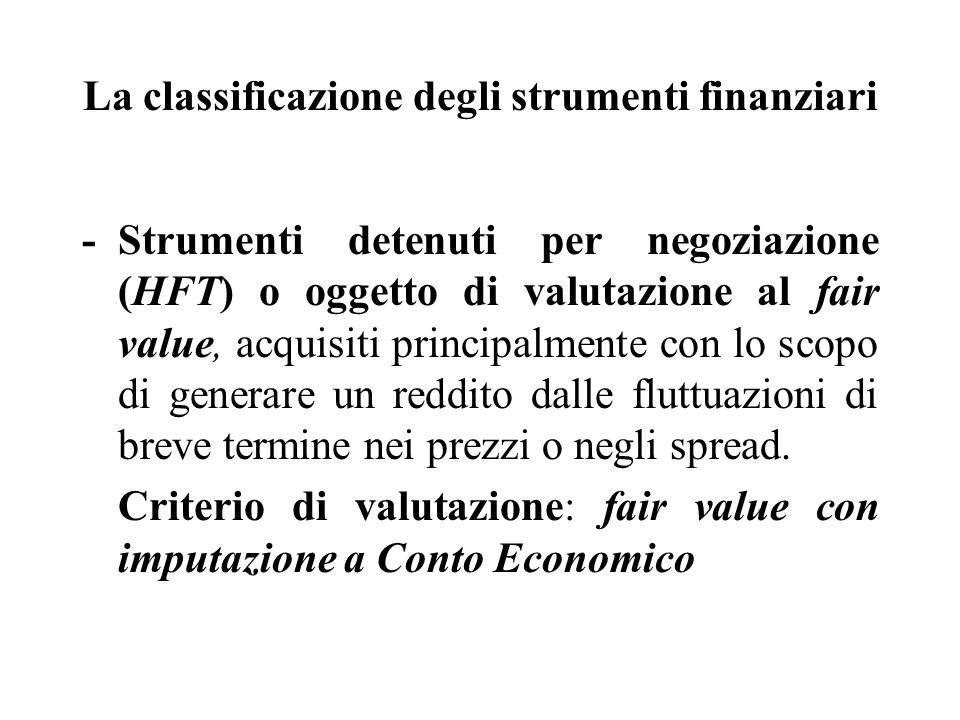 La classificazione degli strumenti finanziari