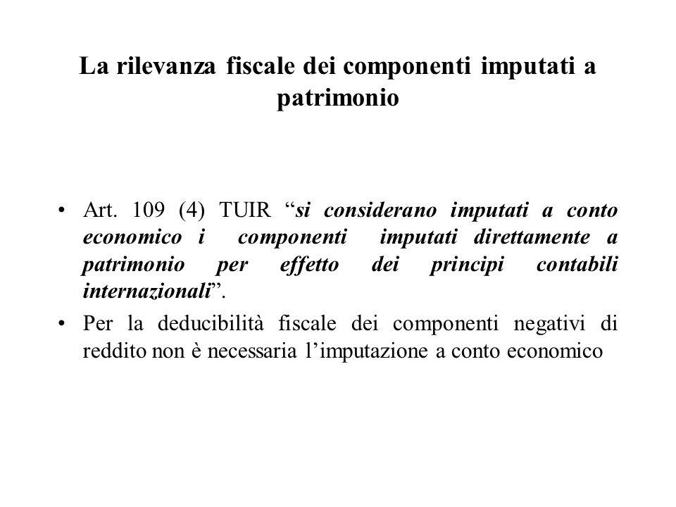 La rilevanza fiscale dei componenti imputati a patrimonio