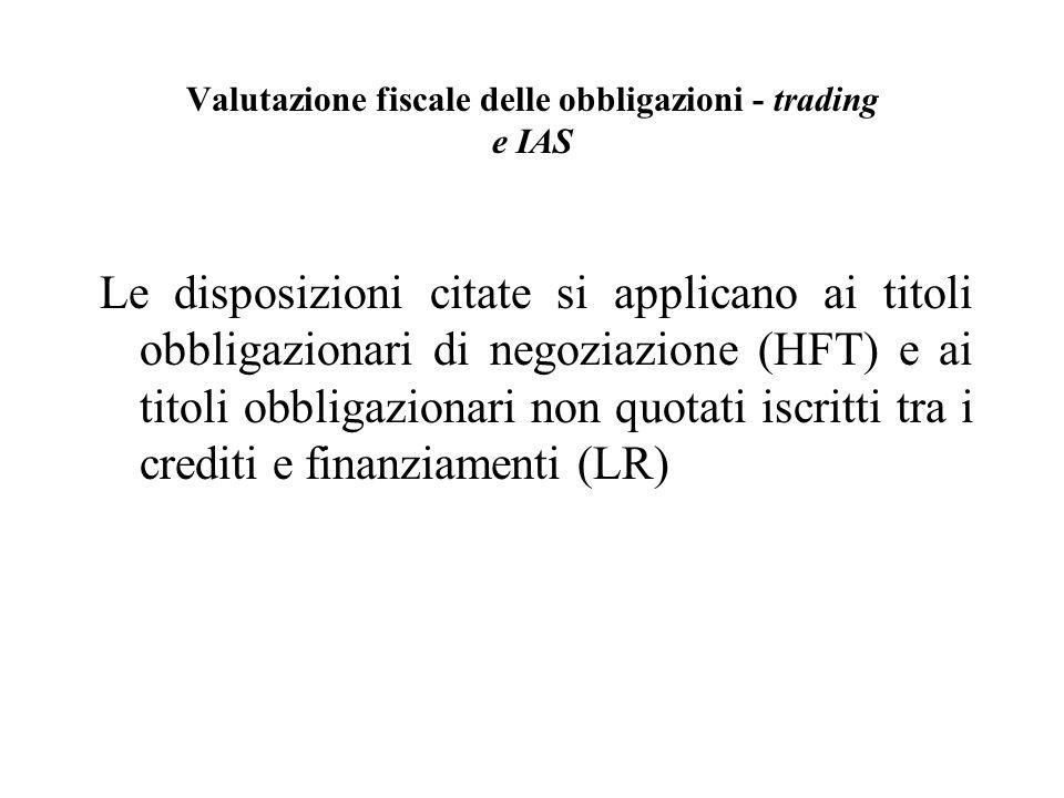 Valutazione fiscale delle obbligazioni - trading e IAS